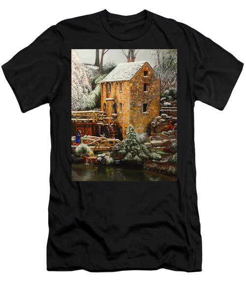 Old Mill In Winter Men's T-Shirt (Athletic Fit)