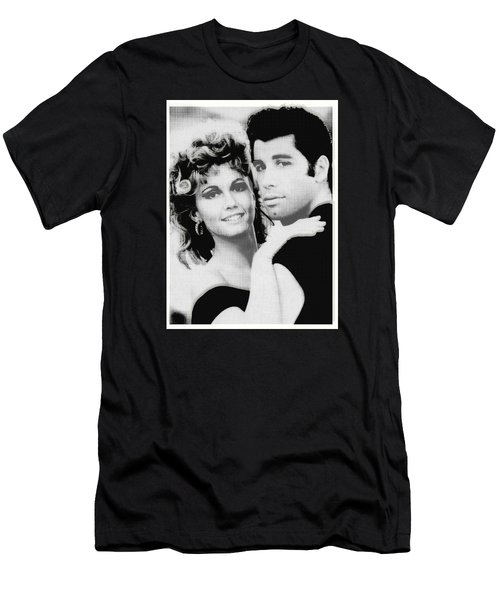 Olivia Newton John And John Travolta In Grease Collage Men's T-Shirt (Athletic Fit)