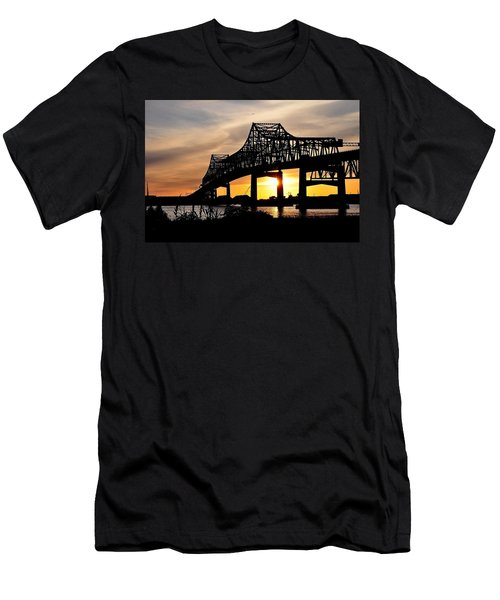Over The Mississippi Men's T-Shirt (Slim Fit) by Charlotte Schafer