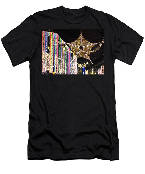 Men's T-Shirt (Slim Fit) featuring the painting Oxford Street London 2011 by Carol Flagg