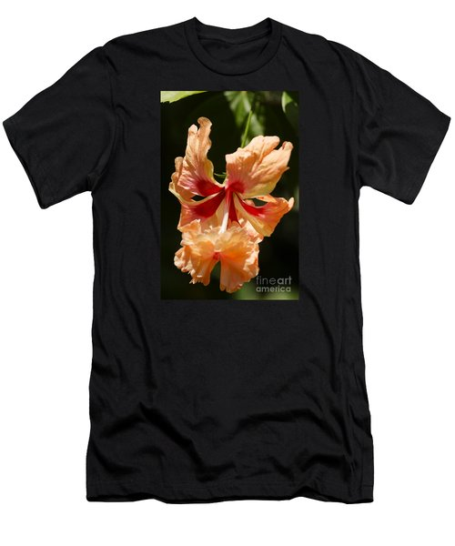 Peach And Red Flower Men's T-Shirt (Athletic Fit)