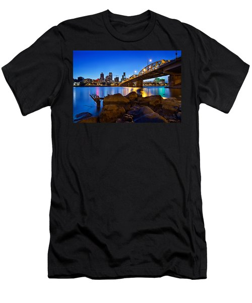 Men's T-Shirt (Slim Fit) featuring the photograph Portland Oregon Skyline At Blue Hour by JPLDesigns