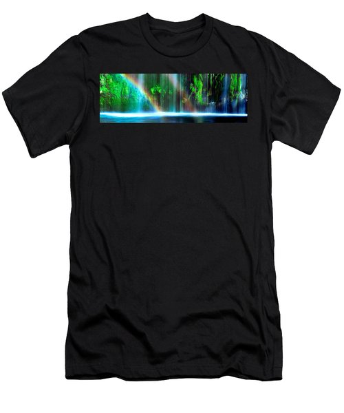 Rainbow Formed In Front Of A Waterfall Men's T-Shirt (Athletic Fit)