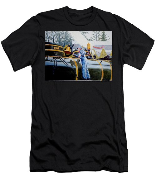 Men's T-Shirt (Slim Fit) featuring the painting Reflecting On Tweetsie by Stacy C Bottoms