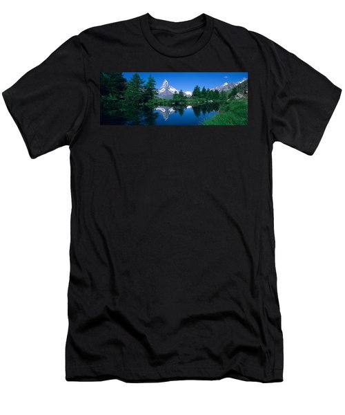 Reflection Of A Snow Covered Mountain Men's T-Shirt (Athletic Fit)