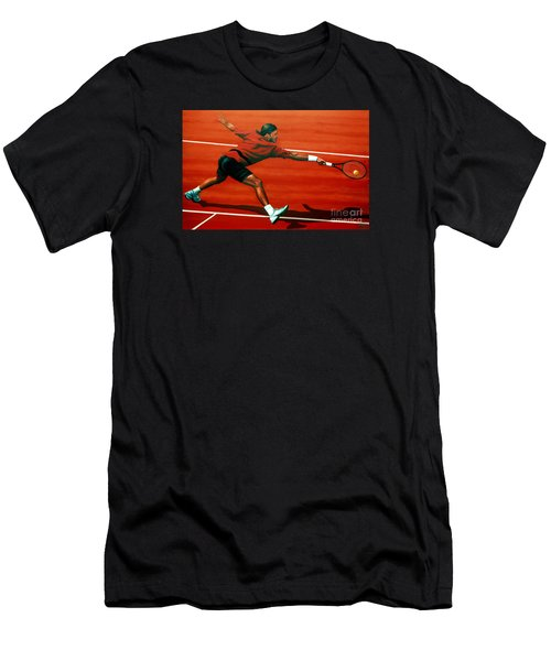 Roger Federer At Roland Garros Men's T-Shirt (Athletic Fit)