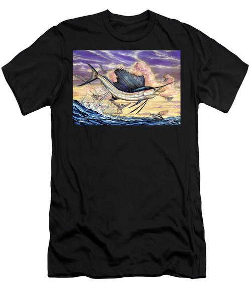 Sailfish And Flying Fish In The Sunset Men's T-Shirt (Athletic Fit)
