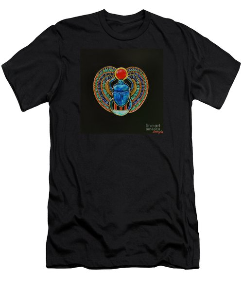 Men's T-Shirt (Slim Fit) featuring the painting Scarab by Joseph Sonday