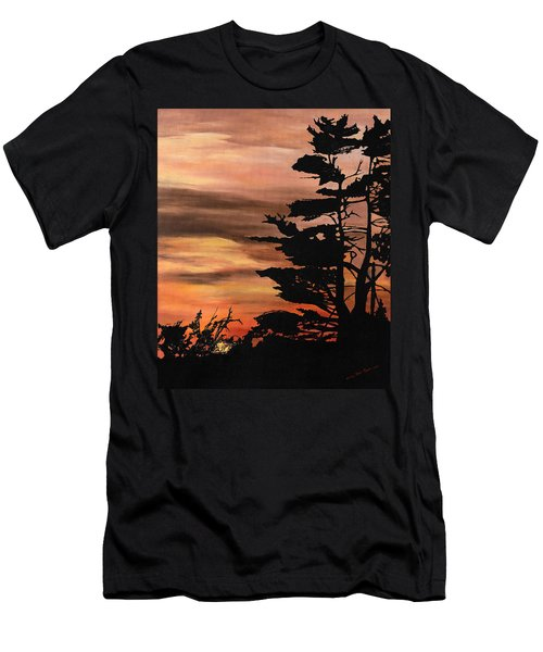 Men's T-Shirt (Slim Fit) featuring the painting Silhouette Sunset by Mary Ellen Anderson