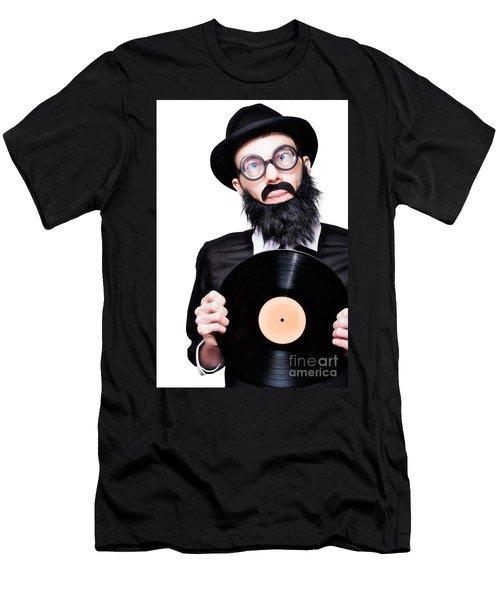 Sixties Retro Rock Man Holding Music Record Vinyl Men's T-Shirt (Athletic Fit)