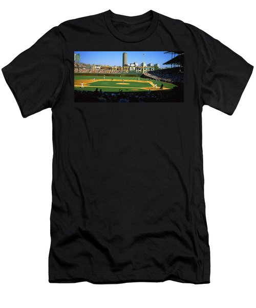 Spectators In A Stadium, Wrigley Field Men's T-Shirt (Slim Fit) by Panoramic Images