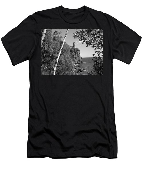 Split Rock Black And White Men's T-Shirt (Slim Fit) by Bonfire Photography