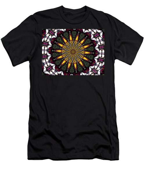 Men's T-Shirt (Slim Fit) featuring the photograph Stained Glass Kaleidoscope 1 by Rose Santuci-Sofranko