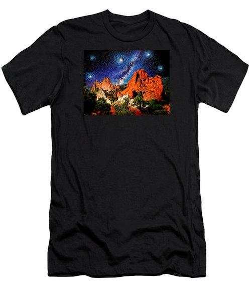 Starry Night At Garden Of The Gods Men's T-Shirt (Slim Fit) by John Hoffman
