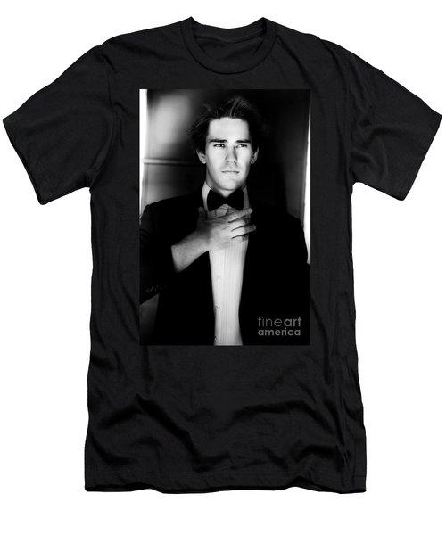Stylish Male Model Wearing Business Suit Men's T-Shirt (Athletic Fit)