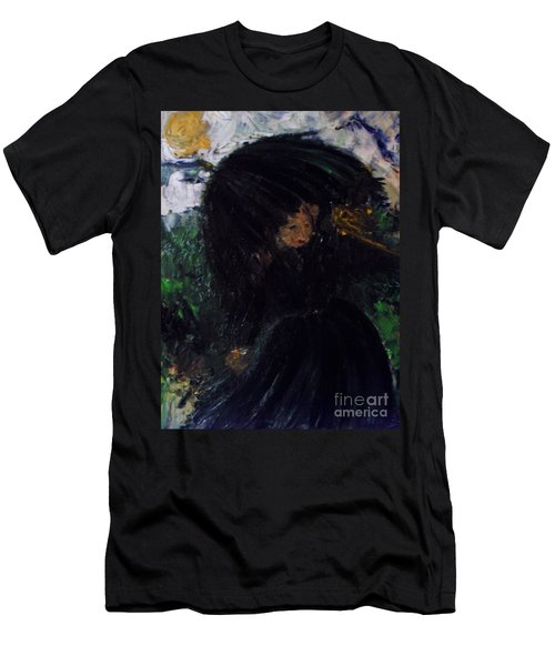 Men's T-Shirt (Athletic Fit) featuring the painting The Widow by Laurie Lundquist