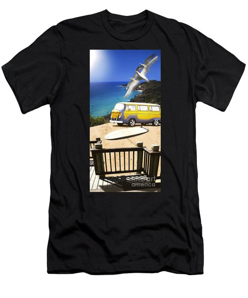 Van And Surf Board At Beach Men's T-Shirt (Athletic Fit)