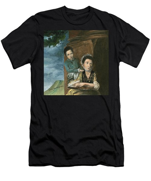 Men's T-Shirt (Slim Fit) featuring the painting Vintage Mother And Son by Mary Ellen Anderson