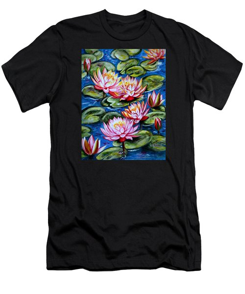 Men's T-Shirt (Slim Fit) featuring the painting Water Lilies by Harsh Malik