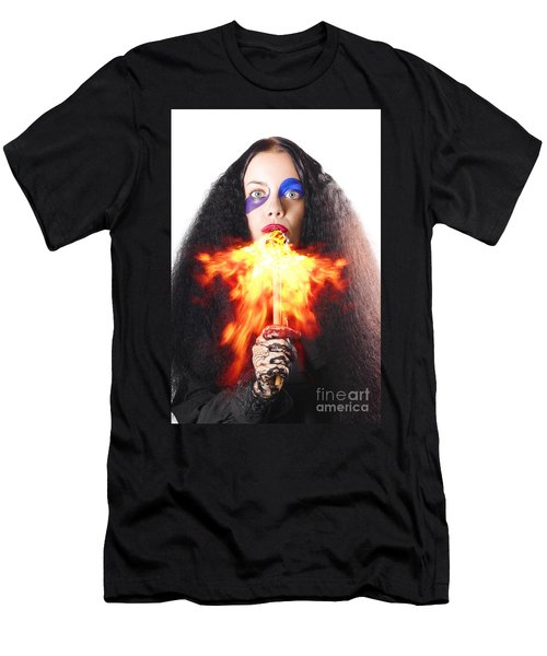 Woman Breathing Fire From Mouth Men's T-Shirt (Athletic Fit)