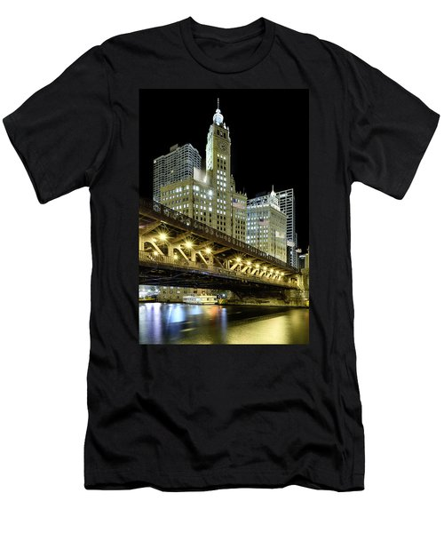 Men's T-Shirt (Athletic Fit) featuring the photograph Wrigley Building At Night by Sebastian Musial