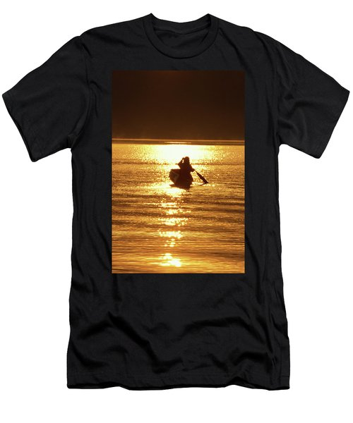 Young Woman Paddling Canoe On Misty Men's T-Shirt (Athletic Fit)