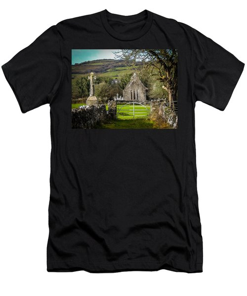 12th Century Cross And Church In Ireland Men's T-Shirt (Athletic Fit)