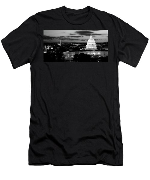 High Angle View Of A City Lit Men's T-Shirt (Slim Fit) by Panoramic Images