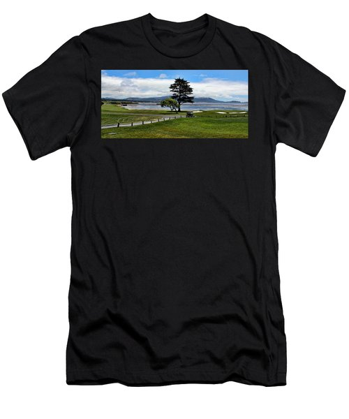 18th At Pebble Beach Panorama Men's T-Shirt (Athletic Fit)