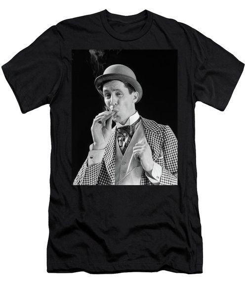 1910s 1920s Character Man Inhaling Men's T-Shirt (Athletic Fit)
