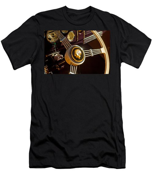 Men's T-Shirt (Athletic Fit) featuring the photograph 1939 Ford Standard Woody Steering Wheel by Jill Reger