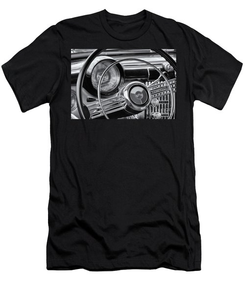 1953 Buick Super Dashboard And Steering Wheel Bw Men's T-Shirt (Slim Fit) by Jerry Fornarotto