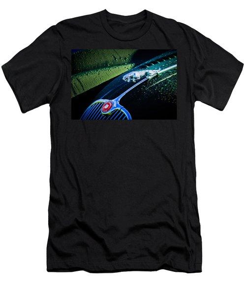 Men's T-Shirt (Athletic Fit) featuring the photograph 1960 Jaguar Xk 150s Fhc Hood Ornament -0441c by Jill Reger