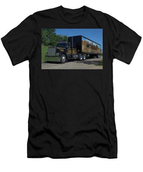 Smokey And The Bandit Tribute 1973 Kenworth W900 Black And Gold Semi Truck Men's T-Shirt (Slim Fit) by Tim McCullough