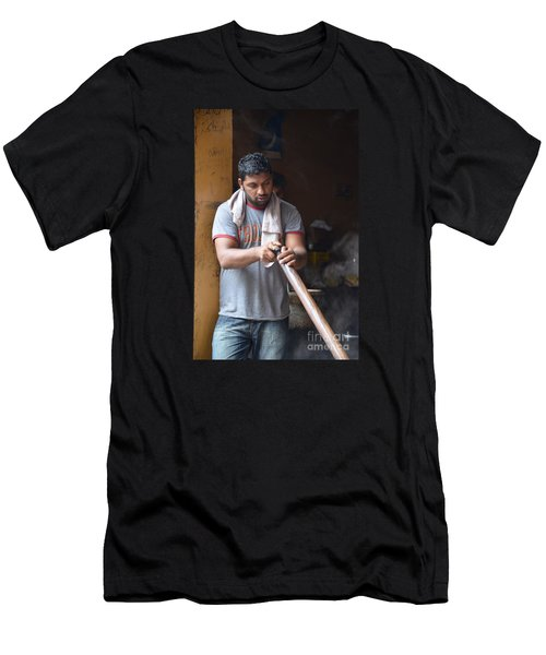 Men's T-Shirt (Slim Fit) featuring the photograph Cooking Breakfast Early Morning Lahore Pakistan by Imran Ahmed