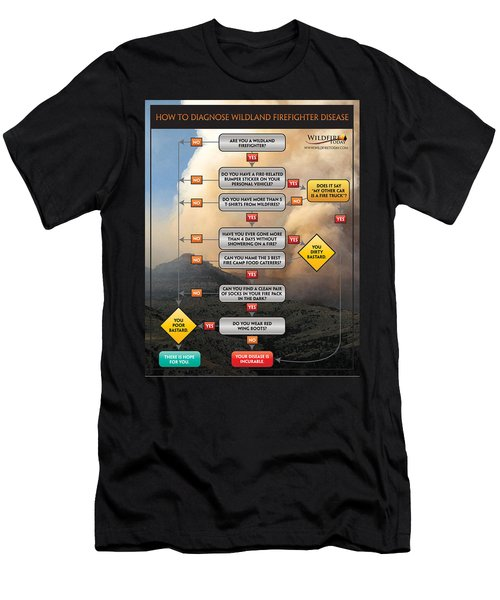 Men's T-Shirt (Slim Fit) featuring the photograph Diagnosing Wildland Firefighter Disease by Bill Gabbert