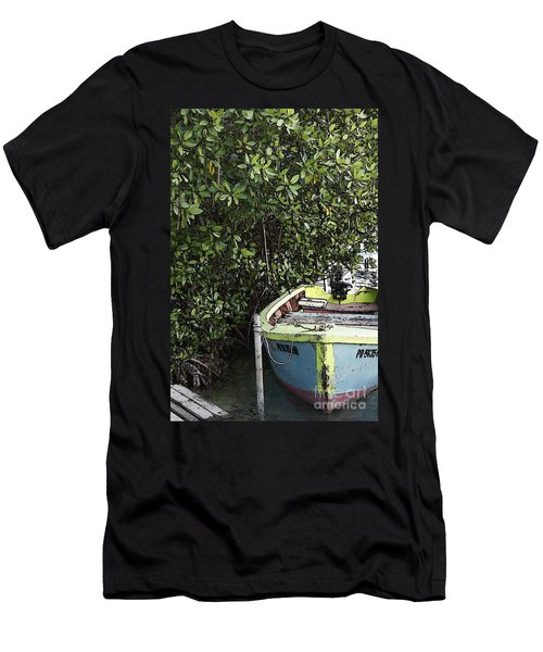 Men's T-Shirt (Slim Fit) featuring the photograph Docked By The Mangrove Trees by Lilliana Mendez