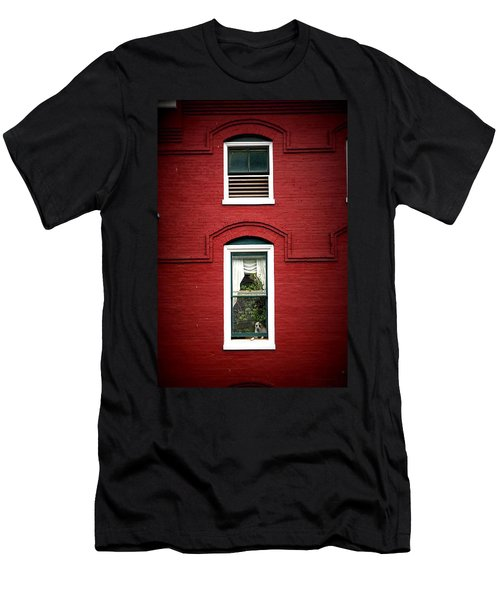 Doggie In The Window Men's T-Shirt (Slim Fit) by Laurie Perry