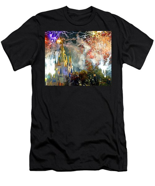 Fireworks Cinderellas Castle Walt Disney World Men's T-Shirt (Athletic Fit)