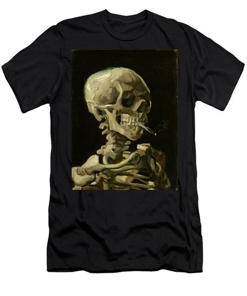 Head Of A Skeleton With A Burning Cigarette Men's T-Shirt (Athletic Fit)