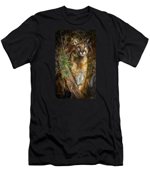 Men's T-Shirt (Slim Fit) featuring the photograph Hiding by Elaine Malott