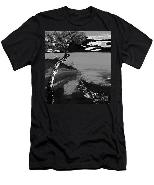 Horizon In Black And White Men's T-Shirt (Slim Fit) by Loredana Messina