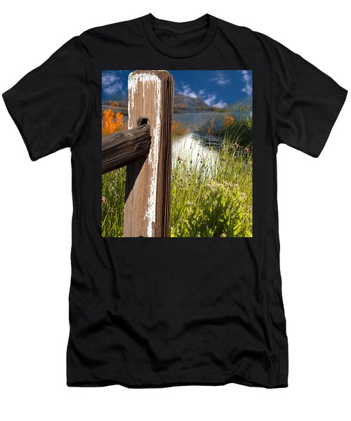 Men's T-Shirt (Athletic Fit) featuring the photograph Landscape With Fence Pole by Gunter Nezhoda