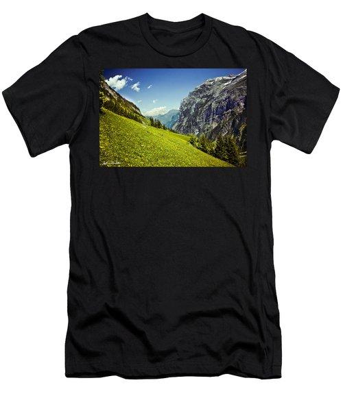Lauterbrunnen Valley In Bloom Men's T-Shirt (Slim Fit) by Jeff Goulden