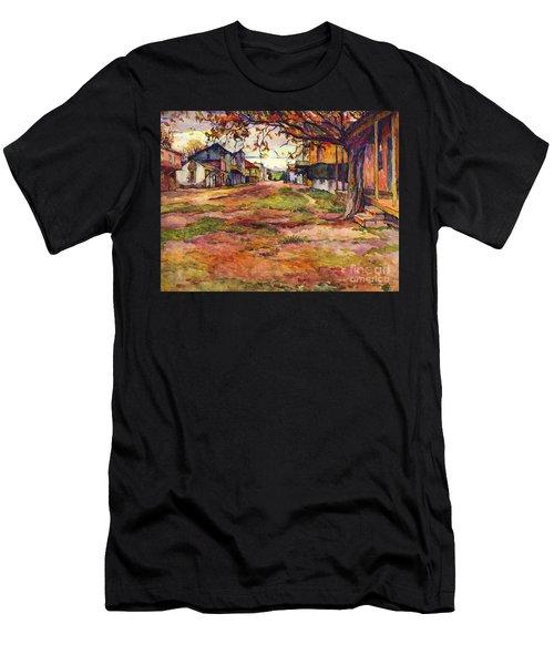 Main Street Of Early Spanish California Days San Juan Bautista Rowena M Abdy Early California Artist Men's T-Shirt (Athletic Fit)
