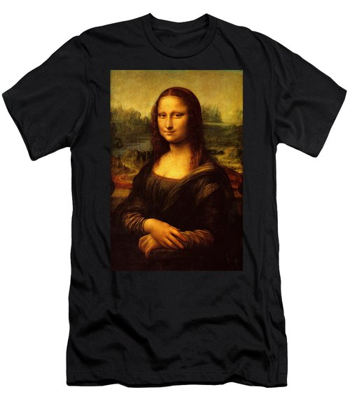 Men's T-Shirt (Athletic Fit) featuring the painting Mona Lisa  by Leonardo da Vinci