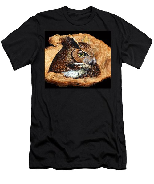 Owl On Oak Slab Men's T-Shirt (Athletic Fit)