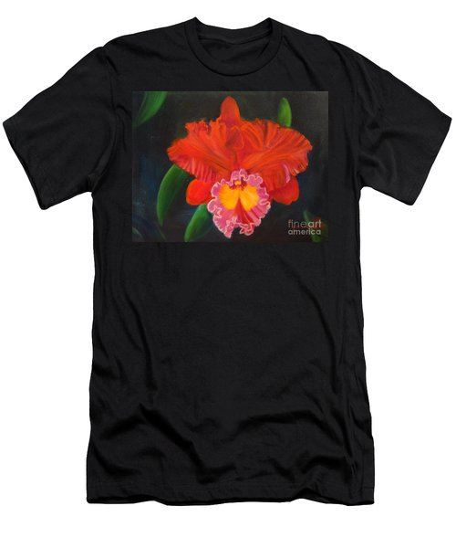 Men's T-Shirt (Slim Fit) featuring the painting Red Orchid by Jenny Lee