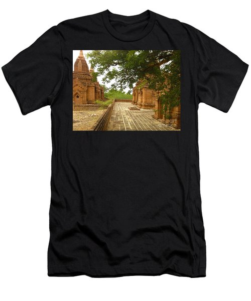 Men's T-Shirt (Slim Fit) featuring the photograph Smaller Temples Next To Dhammayazika Pagoda Built In 1196 By King Narapatisithu Bagan Burma by Ralph A  Ledergerber-Photography