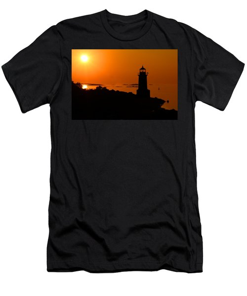 Winter Island Lighthouse Sunrise Men's T-Shirt (Athletic Fit)
